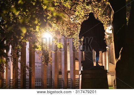 Monument To Duke Albrecht And Immanuel Kant Grave At Night. Memorial For German Philosopher. Kalinin