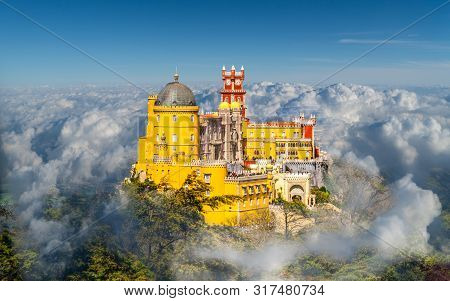 Landscape With National Palace Of Pena, Sintra Region, Lisbon, Portugal
