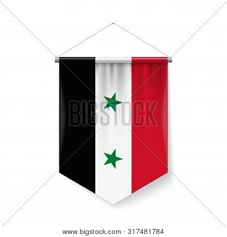 Vertical Pennant Flag Of Syria As Icon On White Background With Shadow Effects. Patriotic Sign In Of