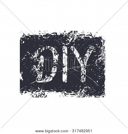Vector Illustration Of Grunge Sign Diy. Abbreviation For Do-it-yourself. Monochrome Isolated Silhoue