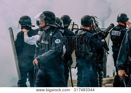 Reims France May 18, 2019 View Of The French National Police Squad Intervening In The Streets Of Rei