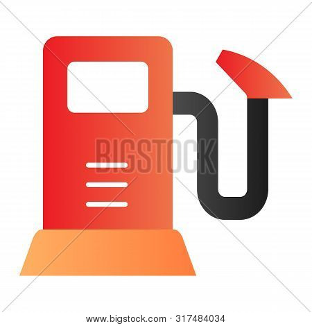 Gas Pump Flat Icon. Gasoline Refil Color Icons In Trendy Flat Style. Fuel Station Gradient Style Des
