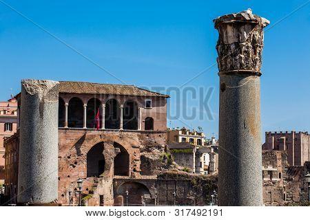 Ruins Of The Forum Of Caesar Built By Julius Caesar Near The Forum Romanum In Rome In 46 Bc