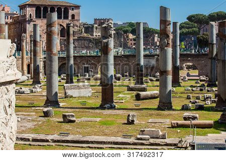 Rome, Italy - April, 2018: Ruins Of The Forum Of Caesar Built By Julius Caesar Near The Forum Romanu