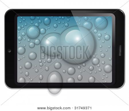 Fictitious design tablet with water drops background. EPS 10 vector Illustration.