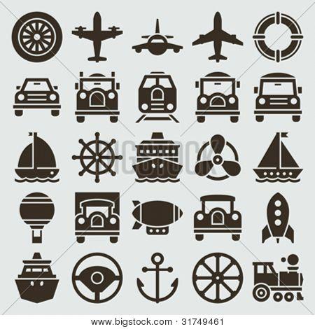 Vintage retro icons transport set. Vector design elements.
