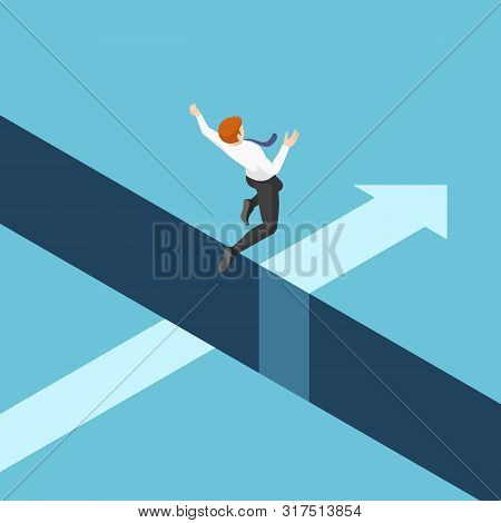 Flat 3d Isometric Businessman Jumping Over The Gap Between Cliffs. Business Risk And Leadership Conc