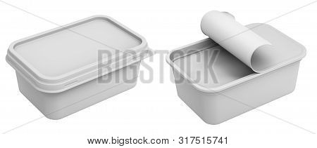 Clay Render Of Margarine Box Isolated On White Background - 3d Illustration