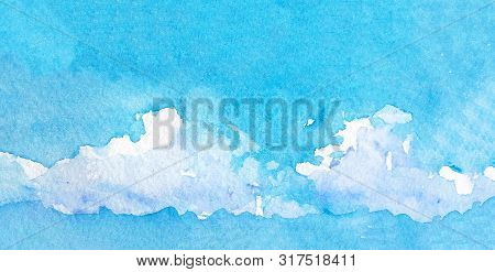 Hand Drawing Watercolor Blue Sky And White Clouds, Abstract Bright Watercolor Background