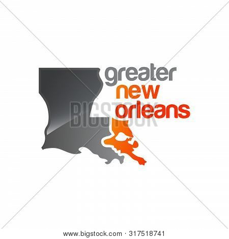 Greater New Orleans Map Logo Vector Design Illustrations