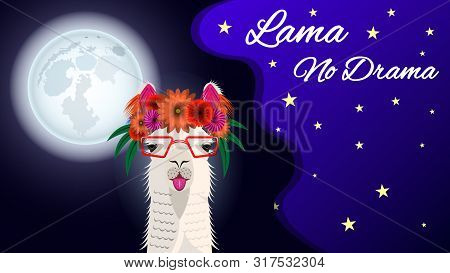 The Head Lama In Glasses And With A Floral Wreath, Front View On A Beautiful Background Of Starry Sk