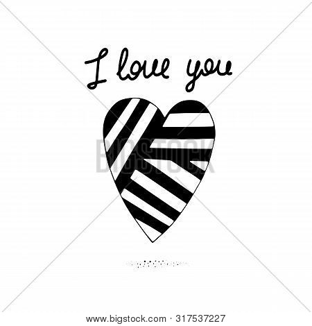 I Love You. Cute Romantic Tender Postcard With A Cartoon Heart And The Inscription. Vector Illustrat