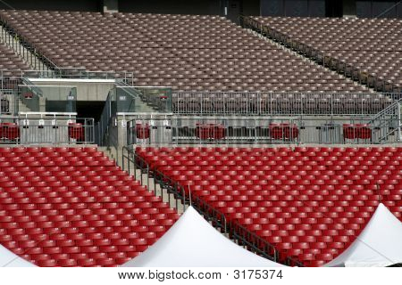 Looking Up The Upper Seating At A Sports Stadium