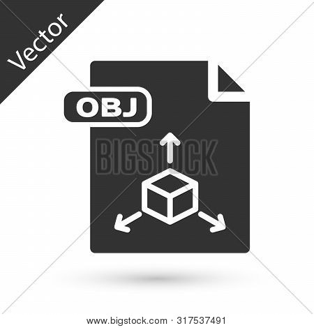 Grey Obj File Document. Download Obj Button Icon Isolated On White Background. Obj File Symbol. Vect