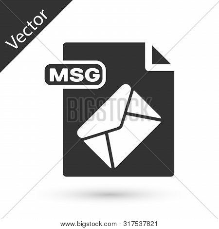 Grey Msg File Document. Download Msg Button Icon Isolated On White Background. Msg File Symbol. Vect