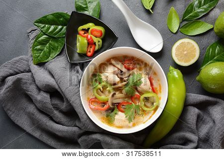Thai Style Coconut Milk Soup-tom Kha Gai With Chicken,mushrooms, Galangal, Lime Leaves, Lemongrass,