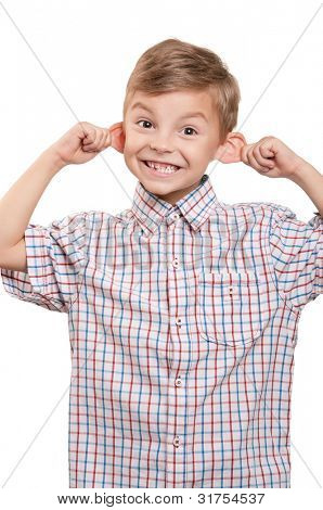 Portrait of funny little boy on white background