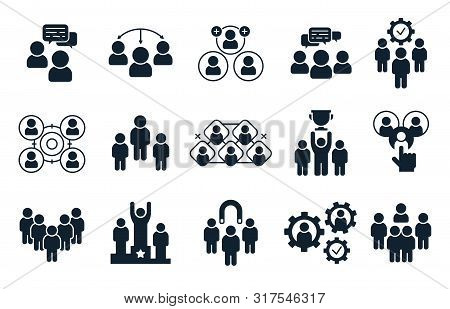 Corporate People Icon. Group Of Persons, Office Teamwork Pictogram And Business Team Silhouette. Bus