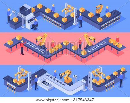Isometric Industrial Factory Automated Line. Packaging Conveyor Equipment, Automation Line And Indus