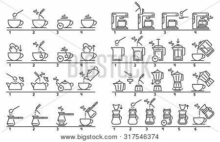 Brewing Tea And Coffee Instruction. Preparing Green Tea Bag, Hot Drinks Guideline And Coffee Machine
