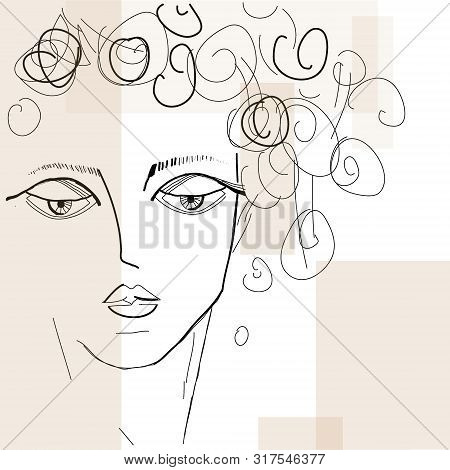 Beautiful Fashion Woman  Portrait. Hand Drawn Illustration For Black And White Print, Greeting Card