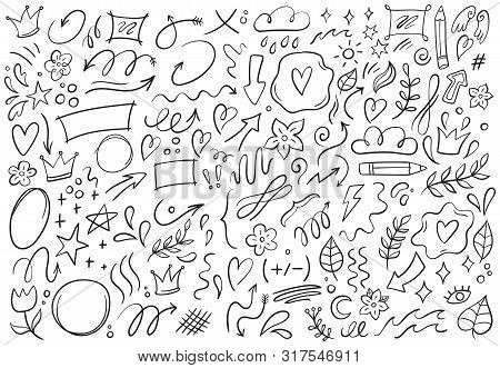 Decorative Doodles. Hand Drawn Pointing Arrow, Outline Shapes And Doodle Frames. Ink Signs Decoratio