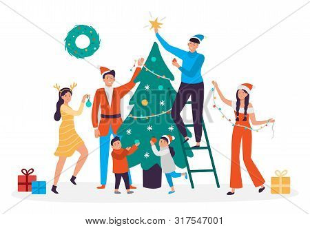 Happy People Decorating Christmas Tree. Family Preparing For New Year, 2020 Xmas Holiday Party. Peop