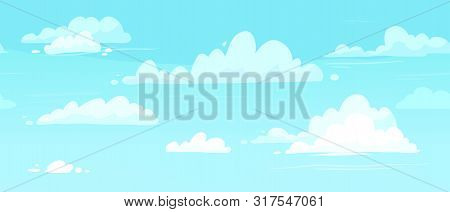 Cartoon Cloudy Skies. Puffy Clouds In Blue Sky. Cloudy Weather, Heaven Cloud In Skies Backdrop Or Me