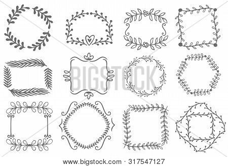 Floral Ornament Frames. Decorative Leaves Frame, Hand Drawn Ornamental Borders. Victorian Style Deco
