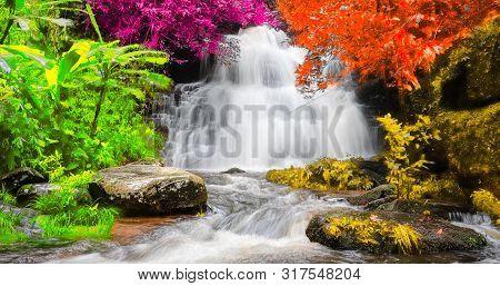 Exotic Waterfall And Lake Landscape Panoramic Beautiful Waterfall In Rainforest At Mundang Waterfall