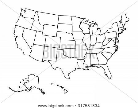 Blank Outline Map Of United States Of America. Simplified Vector Map Made Of Thick Black Outline On