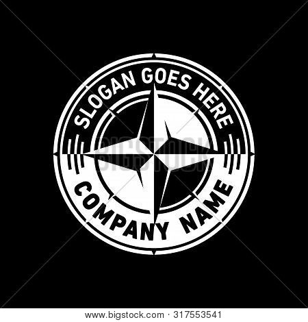 Black And White Compass Logo. Vector And Illustration.