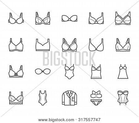 Lingerie Flat Line Icons Set. Bras Types, Woman Underwear, Maternity Bra, Chemise, Pyjamas, Swimwear
