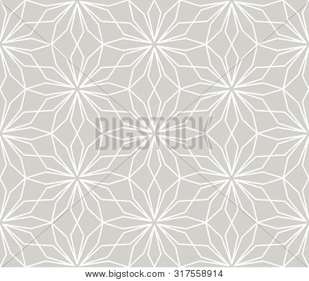 Modern Simple Geometric Vector Seamless Pattern With White Flowers, Line Texture On Grey Background.