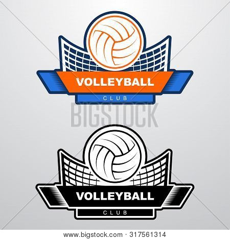 Volleyball Logo Template With Ball Flying Over The Net. Orange And Blue Sport Logo Template With Fly