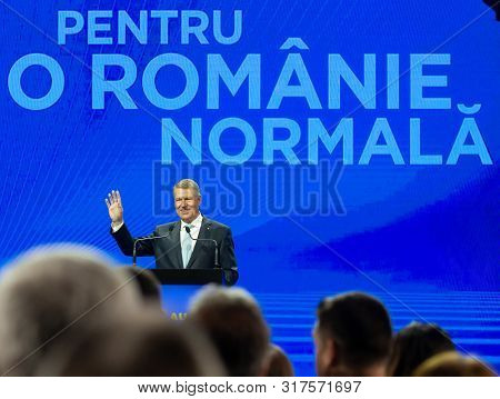 Bucharest, Romania - August 08, 2019: Klaus Iohannis, The President Of Romania, Speaks At The Nation