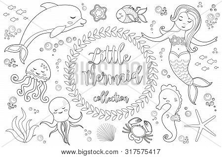 Cute Little Mermaid And Underwater World Set Coloring Book Page For Kids. Collection Of Design Eleme