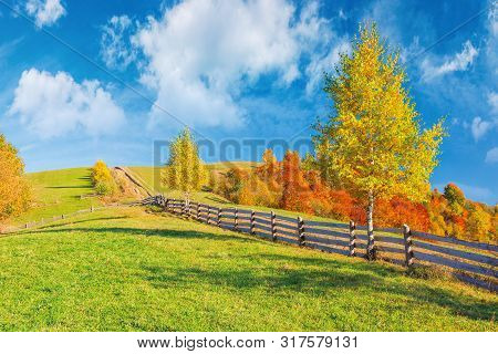 Rural Area In Mountains. Beautiful Autumn Weather On A Sunny Day. Wooden Fence Along The Country Roa