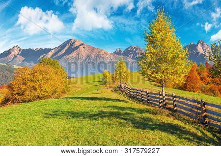Composite Rural Area In High Tatra Mountains. Beautiful Autumn Weather On A Sunny Day. Wooden Fence