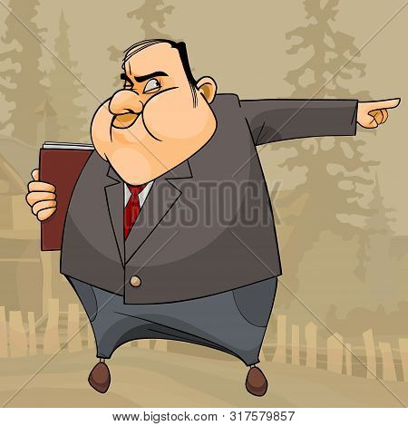 Cartoon Fat Man In Suit And A Book Angrily Points His Hand