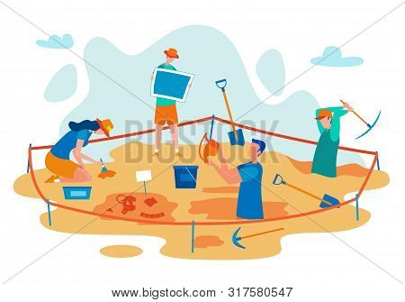 Archeology Excavations Flat Vector Concept With Scientist Digging In Field, Finding Ancient Culture