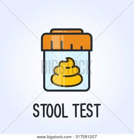 Stool Test Icon - Laboratory Testing Service Of Excrements, Medical Analysis