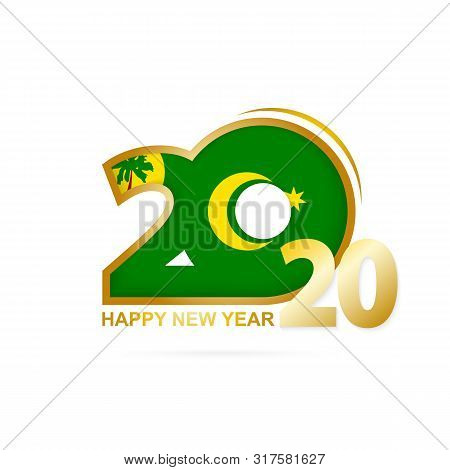 Year 2020 With Cocos Islands Flag Pattern. Happy New Year Design. Vector Illustration.