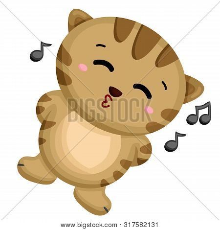 Little Cat Happily Relaxing While Singing A Song