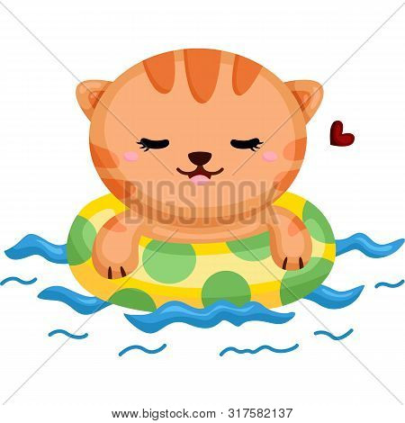 Little Cat Happily Relaxing While Swimming  In A Hot Day