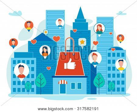 Customers Positive Feedback, Shopping Hype In Social Network, Online Marketing Strategy Flat Vector