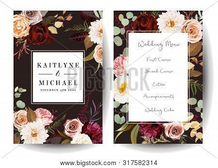 Vertical Label Dark Frames Of Leaves And Flowers. Rust Orange Rose, Dahlia, Peony, Ranunculus, Burgu