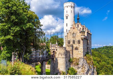 Lichtenstein Castle In Summer, Baden-wurttemberg, Germany. This Magic Castle Is A Landmark Of German