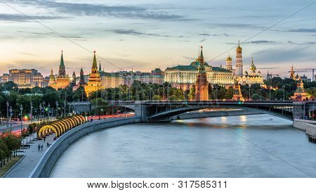 Moscow Kremlin At Moskva River, Russia. Scenery Of The Moscow Old City At Night. Panoramic View Of A