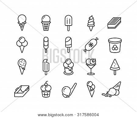 Ice Cream Line Icons. Different Types Of Frozen Yoghurt Parfait Sorbet In Form Of Ball In Bucket On